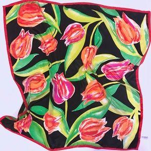 R|U|N|W|A|Y Runway Tulip Print Silk Scarf